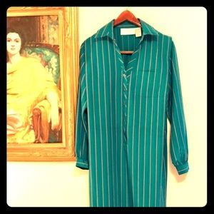 Vintage 👗 Teal Striped Tunic Dress 12P